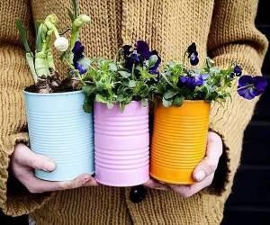 استفاده از مواد بازیافتی به عنوان گلدان: