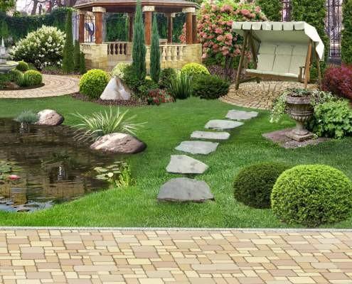 سنگ فرش برای شستن فضای سبز ویلا مناسب است