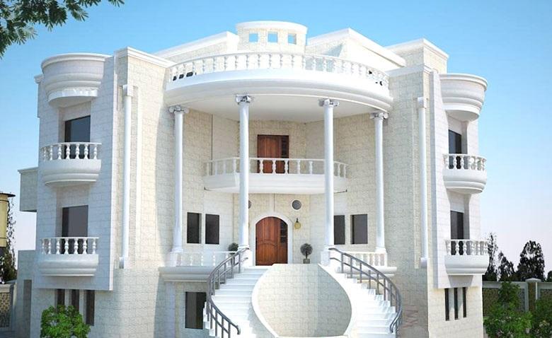 طراحی نمای بیرونی با استفاده از سیمان سفید نمای تیشه ای یا نمای چکشی